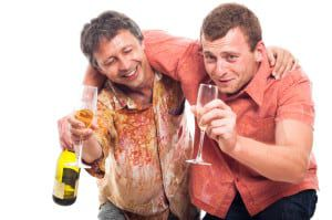Drunken men drinking alcohol
